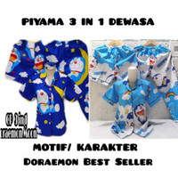PIYAMA 3 IN 1 DEWASA MOTIF DORAEMON MOON/ Fit to XL/ motif baru