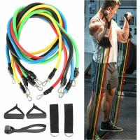 Resistance Band Set Fitnes Gym Yoga Pilastes Workout Pembentuk Otot