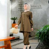 Baju Setelan Wanita Kekinian Set Celana / Alina Set Army