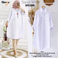 Baju Atasan Wanita Blouse Muslim Sania White Super Jumbo