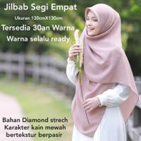 JILBAB SEGI EMPAT BAHAN DIAMOND CREPE STRETCH JILBAB PESTA 130 NC