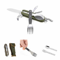 EDCGEAR Sendok Garpu Pisau Army Tools Knife EDC 7 in 1 A010