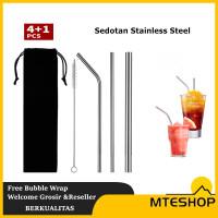 Reusable Stainless Straw Set 5 Sedotan Stainless Steel Set