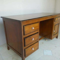 meja kantor 1 biro kayu jati tanpa dengklok