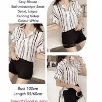 kemeja blouse atssan wanita garis garis salur stripe bluss hem shirt