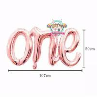 Windblown Balloon Foil One Latin / Balon Angka One Sambung - Rose Gold