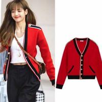 lisa blackpink jaket import black pink jacket baju outer luaran wanita