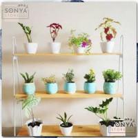 Rak Bunga Susun Besi Kayu Murah Hiasan Taman Minimalis Pot 3 Tingkat