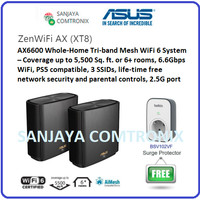 ASUS AX6600 ZenWiFi XT8 Black Whole-Home Tri-band Mesh WiFi 6 System