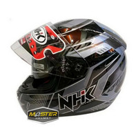 Helm NHK GP1000 Motif Plasma Dark Grey Silver Abu Silver Double Visor