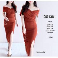 DS1381 - DRESS PESTA SABRINA MAXI BODYCON SCUBA DRESS NATAL WANITA