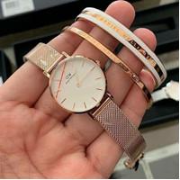 Jam tangan Dw Wanita Petite + Brecelet Original - Sterling Black, 36mm