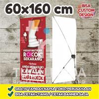 Cetak Y-Banner Outdoor|Standing Banner 60x160cm -AREA BEBAS ASAP ROKOK