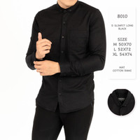Baju kemeja pria hitam Lengan Panjang slim fit premium
