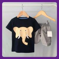 Baju Setelan anak kaos navy gajah size 1-3tahun baju anak laki laki