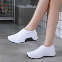 HELYNZ - DOLYN Sepatu Fashion Flyknit Slip On HL-AQY17 (2PC BISA 1KG) - Putih, 36