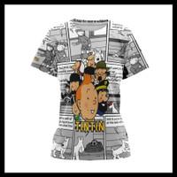 Baju Kaos Tshirt Wanita Serial Komik Tintin Custom Fullprint