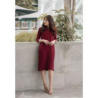 Veyl Sunli Dress Cheongsam WAnita Bahan Thic Jersey Maroon