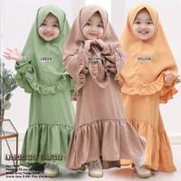 Lunaya Kids Syari l Dress Muslim Plus Khimar Fashion Anak Perempuan