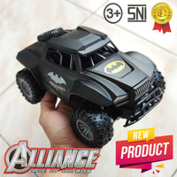 Mainan Anak Mobil Batman & Spiderman 4WD Offroad Besar Remote Control - Hitam