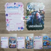 kartu undangan ulang tahun karakter cars tayo spiderman avengers - buss tayo