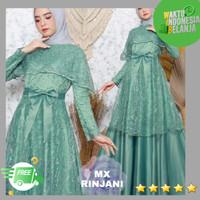 baju muslim wanita gamis brukat maxi rinjani velvet kombi brukat