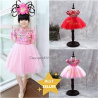 Dress Imlek Anak Cewek Cheongsam MERAH/PINK Bordir YI EN Import Bagus
