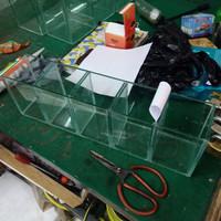 Aquarium Kaca Akuarium Soliter Cupang 5 sekat ruang 50x10x15 cm 5 mm