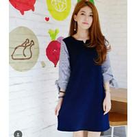 Fashion Baju Atasan Dress Casual Wanita Korea bahan Balotelli Kekinian - Navy, S
