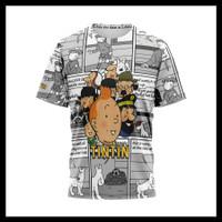 Baju Kaos Tshirt Pria Serial Komik Tintin Custom Fullprint