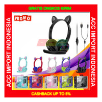 Headset Gaming Belajar Cat Ear Anak Pink Lucu LED Light Microphone