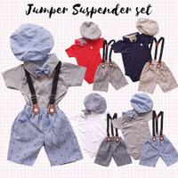 Baju Pesta Bayi Laki Jumper Kaos Kerah Celana Panah Suspender Dasi