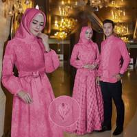 Couple Baju Muslim Kemeja Lengan Panjang Gamis Maxi Dress Busui Import - Fanta