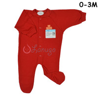MIYO Baju Kodok Panjang Rib Tutup Kaki Bayi/Baby Merah New Born (0-3M)
