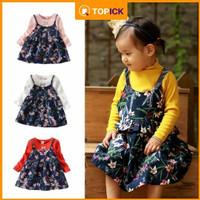 Anak Floral Dress Palsu Dua Lengan Panjang Baju Lucu Bunga Anak overal
