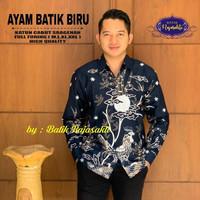 Kemeja Batik Lengan Panjang Terbaru Motif AYAM BATIK BIRU - Bahan