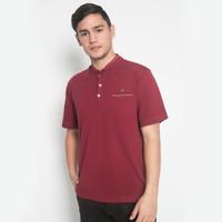 Regular Fit - Kaos Casual - Kerah Shanghai - Marun