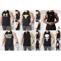 Baju Kaos Hoodie Singlet Pria Tanpa Lengan Gym Fitness - T8266
