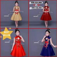 Dress Cheongsam Imlek Anak Cewek MAROON/GOLD/BLUE./RED Classic IMPORT
