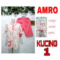 Babydoll AMRO Lengan Pendek Celana 3/4 / Setelan Baju Tidur /Piyama