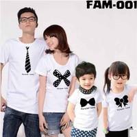 Kaos Keluarga / Baju Family Couple Motif 1-5 (Free Nama) - Kaos Putih, Size 3