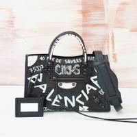 BALENCIAGA Small City Croco Embossed Leather Graffiti Black