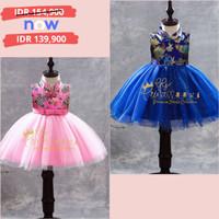 Dress Imlek Anak Cewek Cheongsam PINK/MERAH/BIRU Bordir Tutu Import