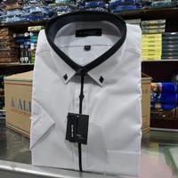 Baju Hem Alisan ukuran jumbo warna putih slimfit