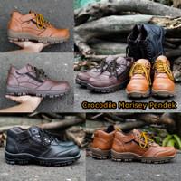 Sepatu Boots Pria Safety Ujung Besi Crocodile Morisey pendek Sleting