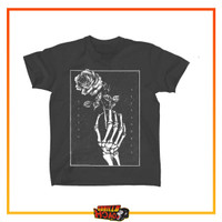 Baju Musik Band ASKING ALEXANDRIA Original UK Post Punk Skeleton Rose - M