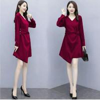 Fashion Pakaian Baju Atasan Dress Wanita Lengan Panjang Kekinian FIT L