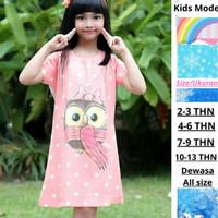 Dress Anak Owl Pink Terbaru Baju Anak Perempuan Usia 2-13Tahn/ Dewasa