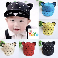Topi Bayi / Topi Anak / Topi Kucing / Topi anak Korea / Topi import - Merah