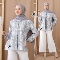 Baju Batik Blouse Bolero Wanita Kombinasi Motif Soft